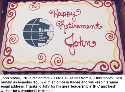 John Mabry, IPIC director from 2000-2012, retires from ISU this month. He'll remain as emeritus faculty with an office in Kildee and will keep his same email address. Thanks to John for his great leadership at IPIC and best wishes for a wonderful retirement.