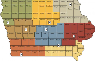 map of farm management field specialists -- click on map