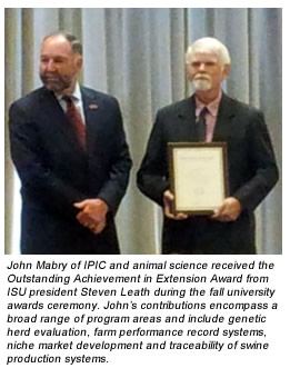John Mabry of IPIC and animal science received the Outstanding Achievement in Extension Award